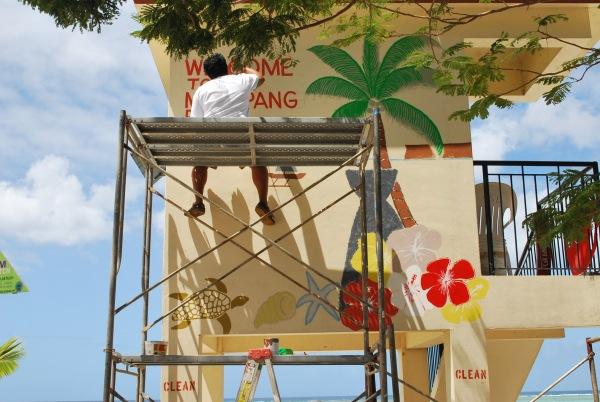 Lions club beautifies beach in Guam.