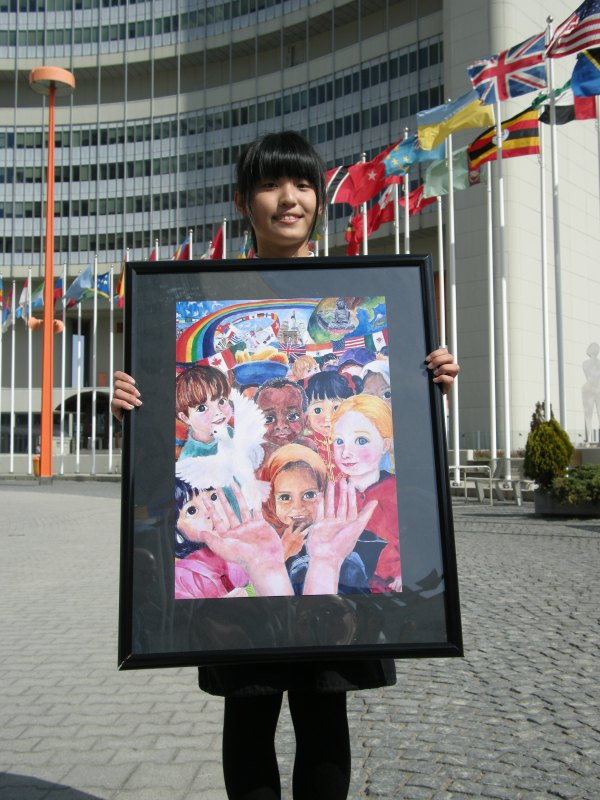 Peace Poster Contest Winner Yu-Min Chen in Vienna.