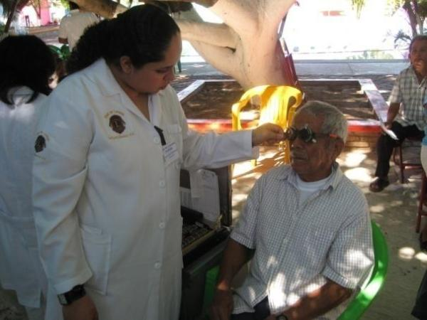 Doctors help patients during Lions clubs vision mission in Mexico.