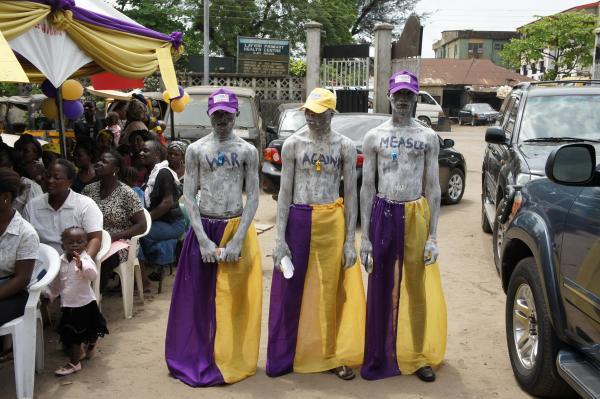 Human Billboard for Lions-Measles Initiative Clinic in Nigeria