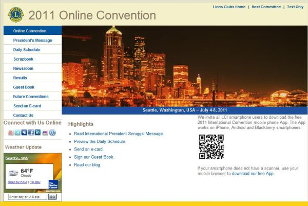 Online Convention Web Site screen capture