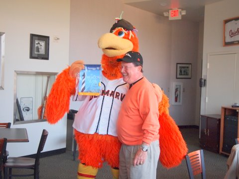 International President Scruggs with Sherman the Shorebird
